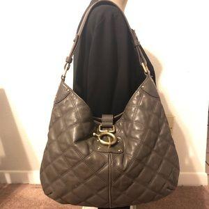J.Crew Quilted Gray Leather Hobo Style Handbag Bag